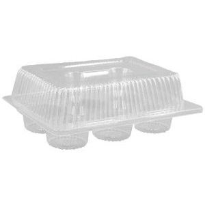 CLEAR CUPCAKE HOLDER - HALF DOZEN DEEP
