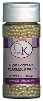 SUGAR PEARLS 4MM - PEARLIZED IVORY